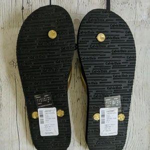 Calvin Klein Shoes - Calvin Klein Sarinah Gold Flip Flops Sandals